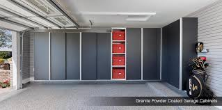 garage cabinets matte metallic powder coated wood