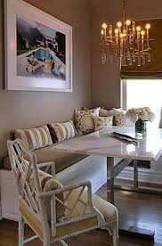 Jeneration Interiors Gorgeous Eat In Kitchen Design With White Built Banquette Storage Gray Bench