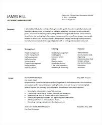 Restaurant General Manager Resume Awesome Sample Information