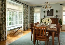 Decoration Channel And Furniture Amusing Dining Room Bay Window Treatments 22 Traditional With Blue Walls Boxwoods Crown