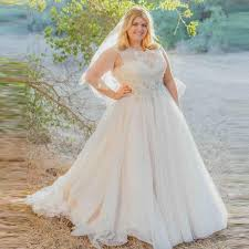 2015 Charming Plus Size Lace Wedding Dresses A Line Sheer O Neck Sleeveless Sweep Train Tulle Beaded Rustic Bridal Gown YY631