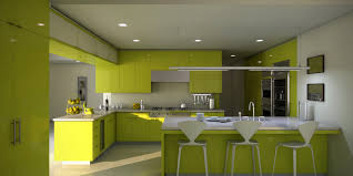 beautiful shaped lime green wooden kitchen cabinets with stainless