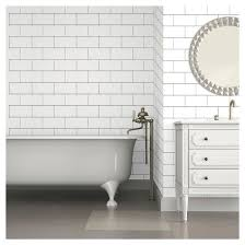 color textured subway tile peel stick wallpaper white