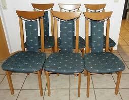 stühle 6 stück esszimmer blau gemustert buche erle farbig