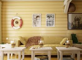 Coastal Living Room With Yellow Wood Panel
