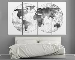 4 Panel Black And White Abstract World Map Canvas Set