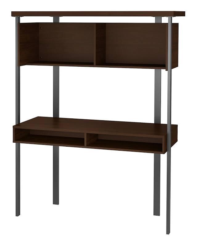 Bush Furniture Architect Small Computer Desk with Hutch in Modern Walnut - ACU152MW-03