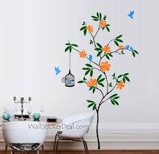 Birds With Flowers Wall Stickers