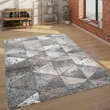 teppich wohnzimmer kurzflor mit rauten muster vintage look modern beige grau