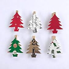 Sweet Thymes Christmas Tree Clothespins Decoration Kit Paper Cutouts Holiday Party Favors Gift Tag Clips