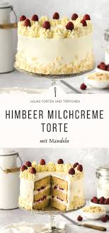 milchcreme mandel torte mit himbeeren