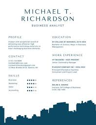 Blue Building Silhouette Infographic Resume Use This Template