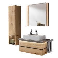 thielemeyer fresh badmöbel set in wildeiche massivholz mit grauen absetzungen mit unterschrank waschtischplatte becken spiegel und hängeschrank