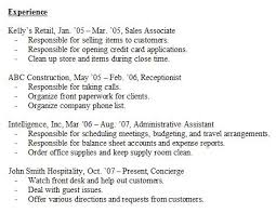 Resume Experience Sample