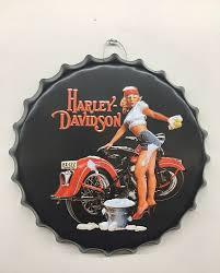Harley Davidson Babe Bottle Cap Sign 16