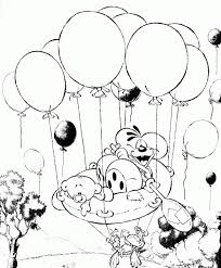 Diddl And Friends Flying With A Lot Of Balloons Coloring Pages