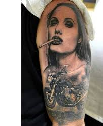I Dont Know Why The Biker Picked Angelina Jolies Portrait For Tattoo But Bike Inked In Front Is A Real BeautyBack Of Neck Tattoos