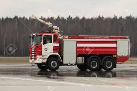100 Airport Fire Truck RIGA LATVIA NOVEMBER 11 2017 Modern At The