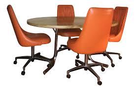Chromcraft Dining Room Chairs by Orange Chromcraft Table U0026 Chairs Set Chairish