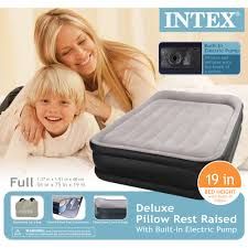 Intex Kidz Travel Bed by Intex Deluxe Raised Pillow Rest Airbed Mattress With Built In Pump
