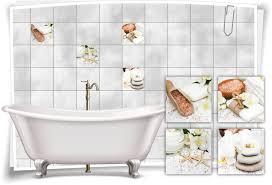 fliesen aufkleber fliesen bild salz seesterne blumen steine bad wc deko