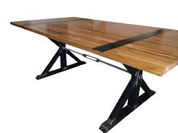 Large Trestle Dining Table With Glossy Butcher Block Top Idea