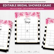 Bingo Card Template Bridal Shower Game Wedding Fuschia Pink