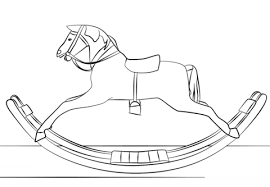 Click To See Printable Version Of Victorian Toy Rocking Horse Coloring Page