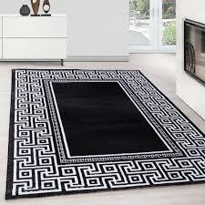 teppich modern designer kurzflor ornament bordüre muster schwarz grau weiß teppium teppich market
