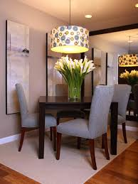 Drum Shades Chandelier Mixed Rectangle Black Wooden Table And Gray Fabric Upholstered Dining Chairs Modern Contemporary