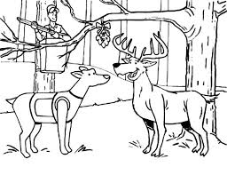 Hunting Deer And A Dog Under The Mistletoe Colouring Page Coloring