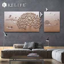3 panel kombiniert dekoration wandgemälde für wohnzimmer natürliche landschaft harz baum kunst bilder