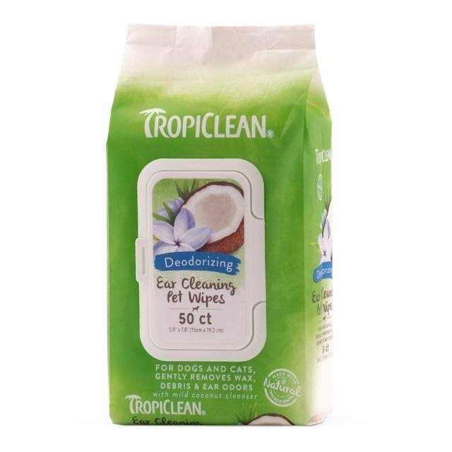 TropiClean Ear Cleaning Dog Wipes - 50 Count