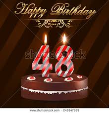 48 year Happy Birthday Card with cake and candles 48th birthday
