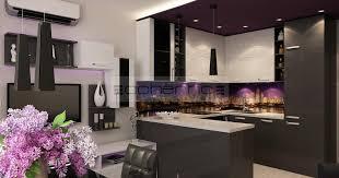 wohndesign ideen in violett und dunkelgrau küche w