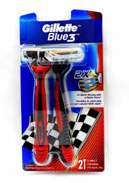 100 The Razor Gillette Blue3 Elastomer Handle Disposable