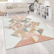 teppich wohnzimmer modern weiß rosa bunt pastell real de
