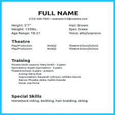 Musical Theatre Resume Template Word Music Performer Sample Special Skills For