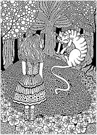 A plex coloring page with Alice in Wonderland with the Cheshire