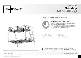 Dorel Twin Over Full Metal Bunk Bed by Dorel Twin Over Full Metal Bunk Bed Assembly Instructions Twin