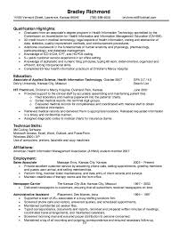 Health Information Technology Resume Sample Resumesdesign Rh Com Academic Curriculum Vitae Example
