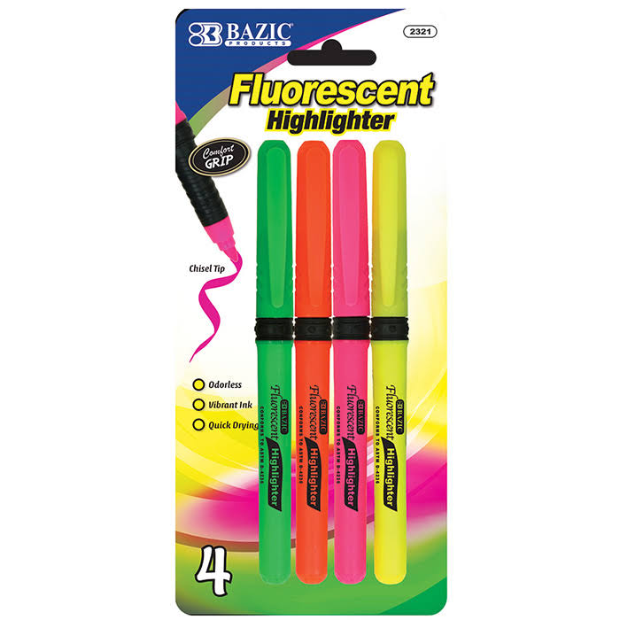 BAZIC Pen Style with Cushion Grip Fluorescent Highlighters - 4pk