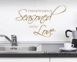sticker citation cuisine cette cuisine est assaisonnée avec amour citation wall sticker diy