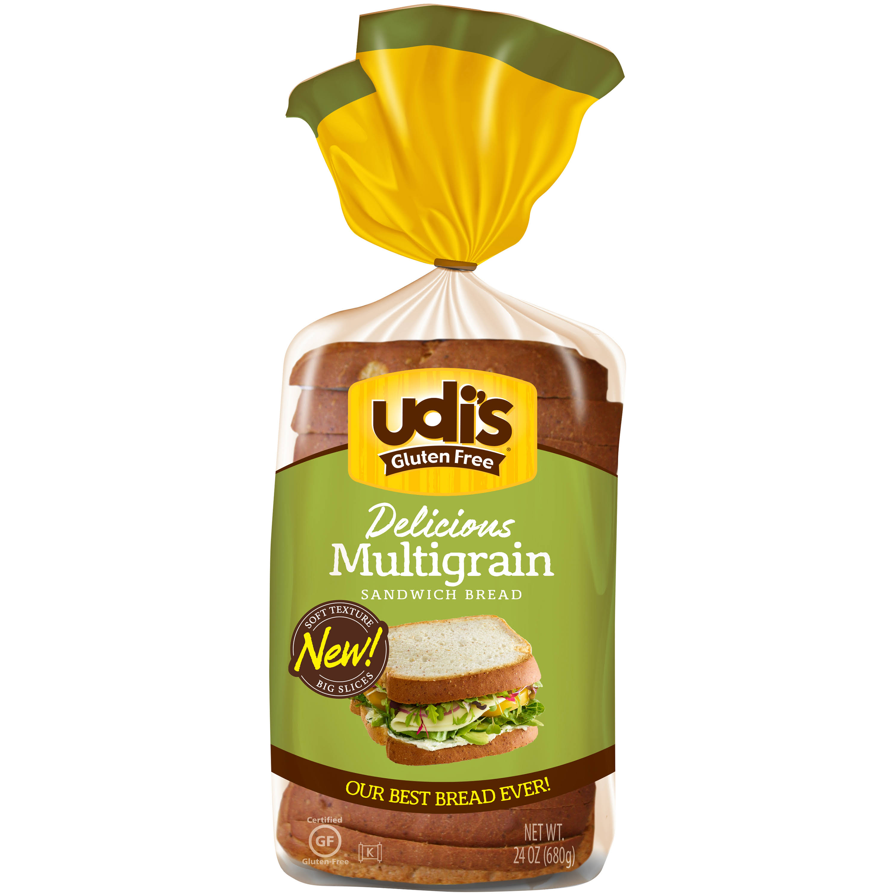 Udi's Gluten Free Bread - Whole Grain, 24oz