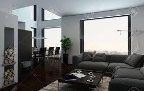 große luxus offene wohn und esszimmer interieur mit doppeltem volumen räume große sichtfenster und eleganten möbeln in einer eigentumswohnung oder