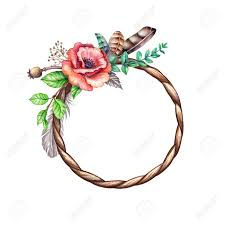 Watercolor Boho Illustration Tribal Wreath Floral Round Frame Spring Rustic Flowers