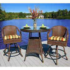 3 Piece Bar Height Patio Bistro Set by Resin Wicker Bistro Sets