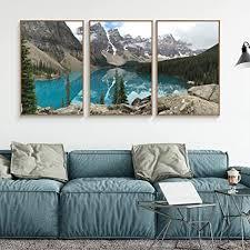 wall26 gerahmte leinwand für wohnzimmer schlafzimmer klarer see im wald leinwanddruck für heimdekoration fertig zum aufhängen 40 6 x 61 x 3