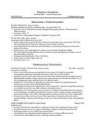 Internship Resume Example Sample