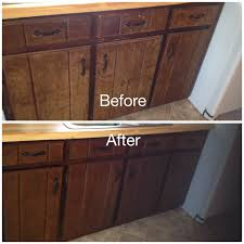 Gel Stain Cabinets Pinterest by My Worn Kitchen Cabinets Stained With Minwax Gel Stain In Hickory